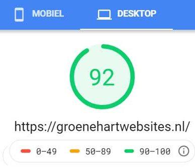 Resultaat google page speed groenehartwebsites.nl