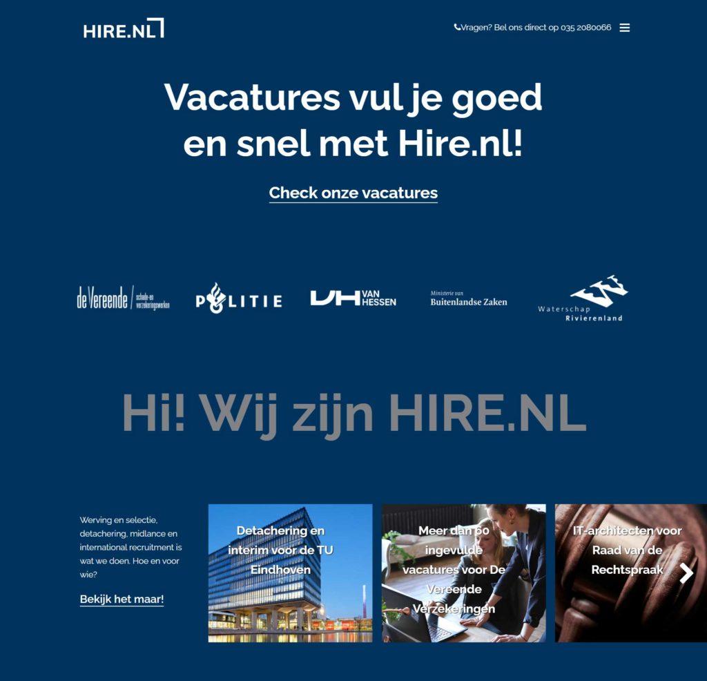 Webdevelopment voor Hire.nl